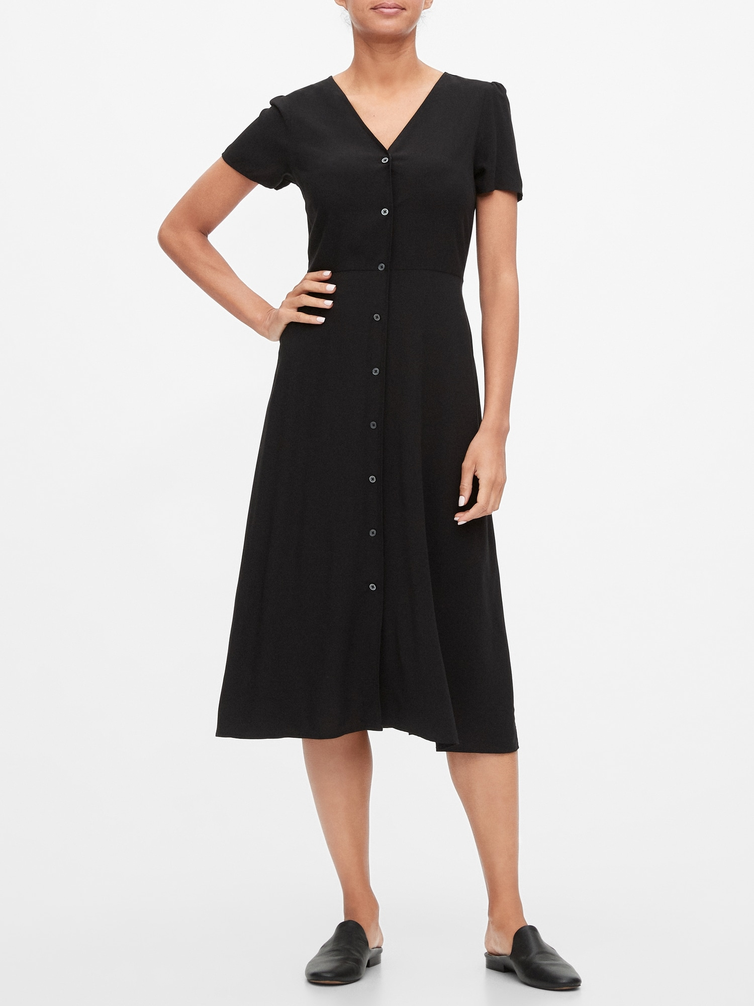 Šaty button-front midi dress (1)