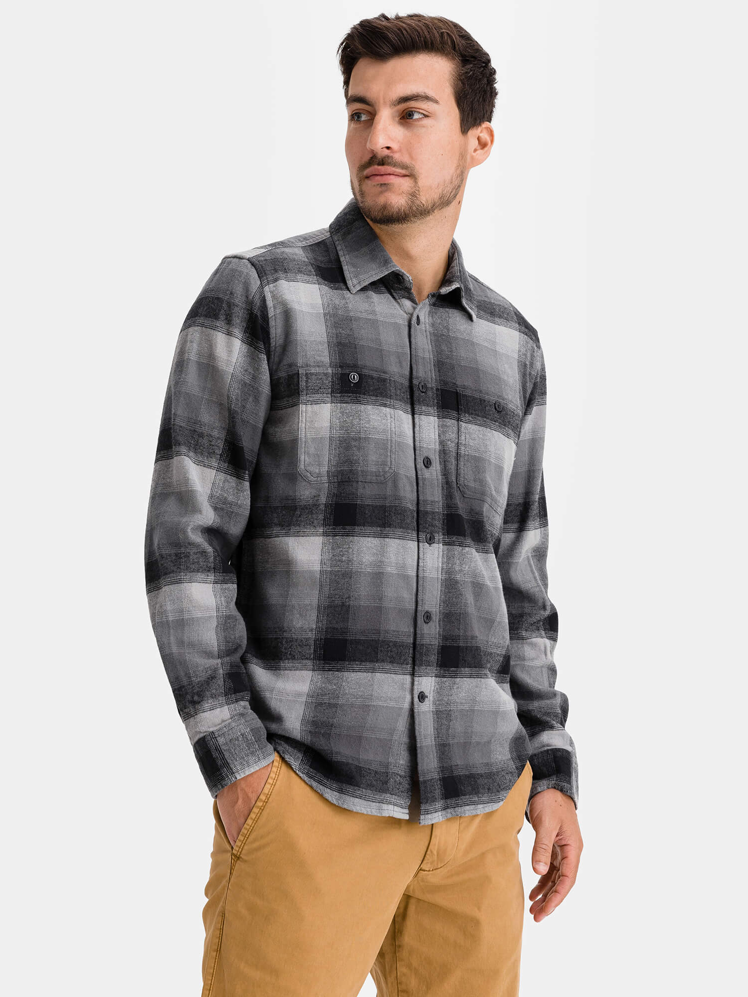 Košeľa flannel shirt in untucked fit (1)