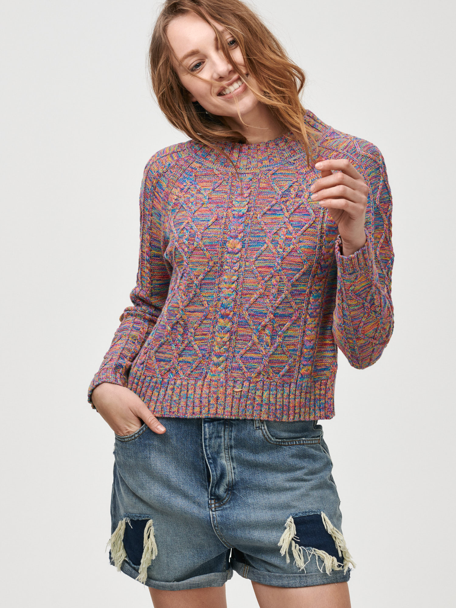 Sveter cable knit crewneck sweater (2)