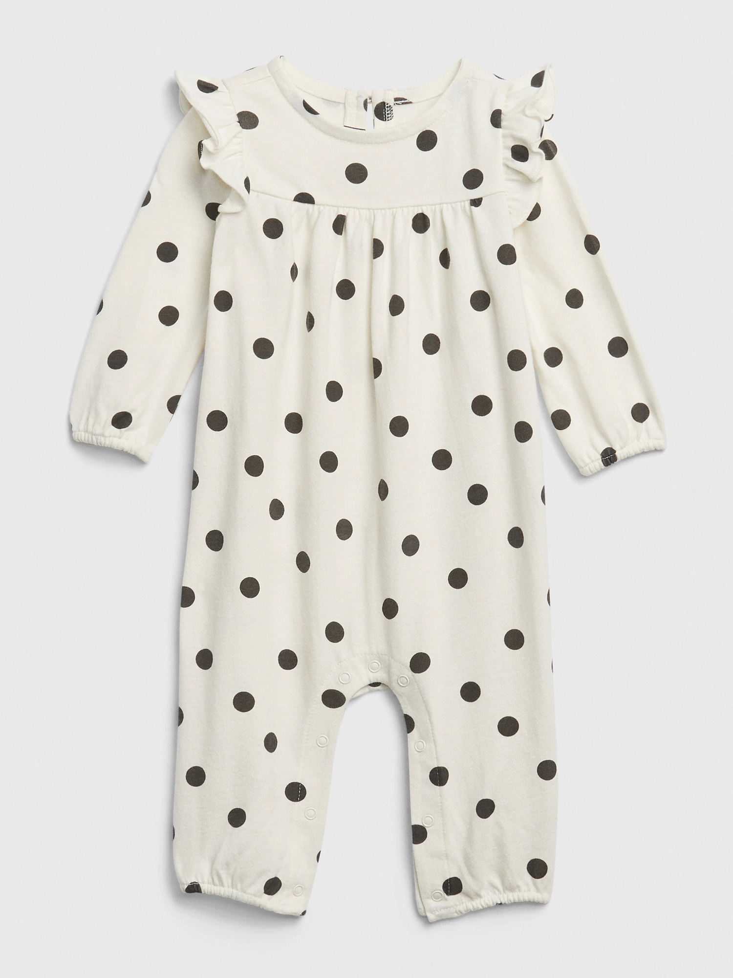 Baby overal organic polk-a-dot ruffle one-piece (1)