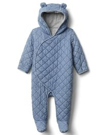 Baby kombinéza quilted chambray bear one-piece