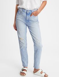 Džínsy high rise distressed cigarette jeans with Washwell