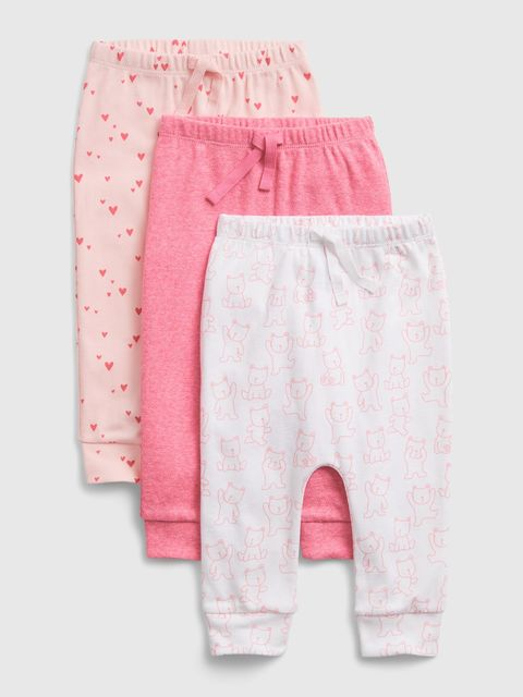 Baby legíny print pull-on pants, 3ks