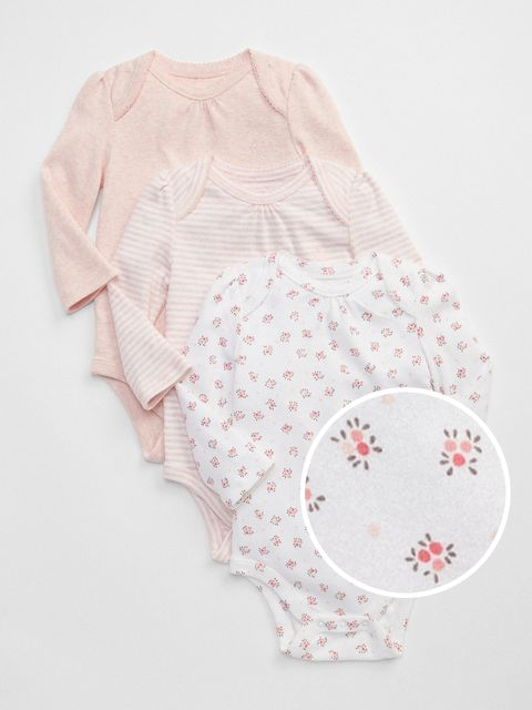Baby body first favorite floral long sleeve bodysuit, 3ks