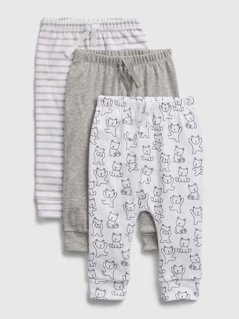 Baby tepláky print pull-on pants, 3ks