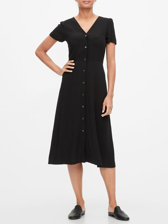 Šaty button-front midi dress