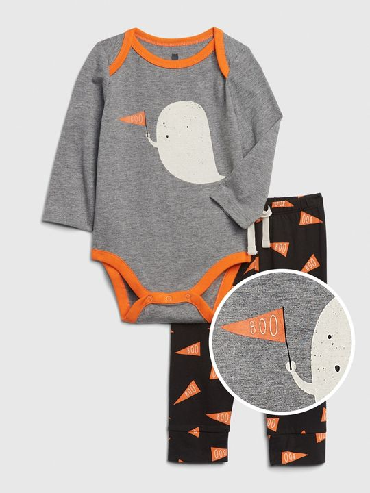 Baby body a tepláky mix and match long sleeve graphic outfit set