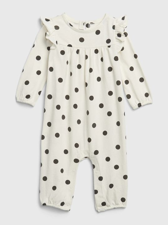 Baby overal organic polk-a-dot ruffle one-piece